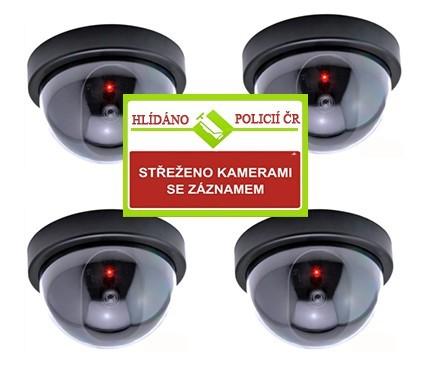 Sada falešných kamer s výstražnou cedulí